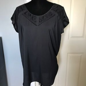 Express v-neck cap short sleeve lace blouse